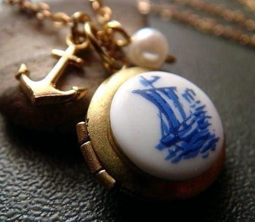 pirata . anchor . nautical locket charm necklace