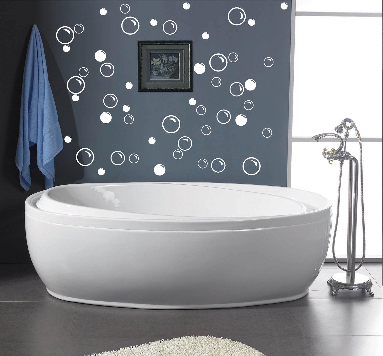 50 large soap bubbles bathroom vinyl decal wall art by for Bathroom wall decor vinyl