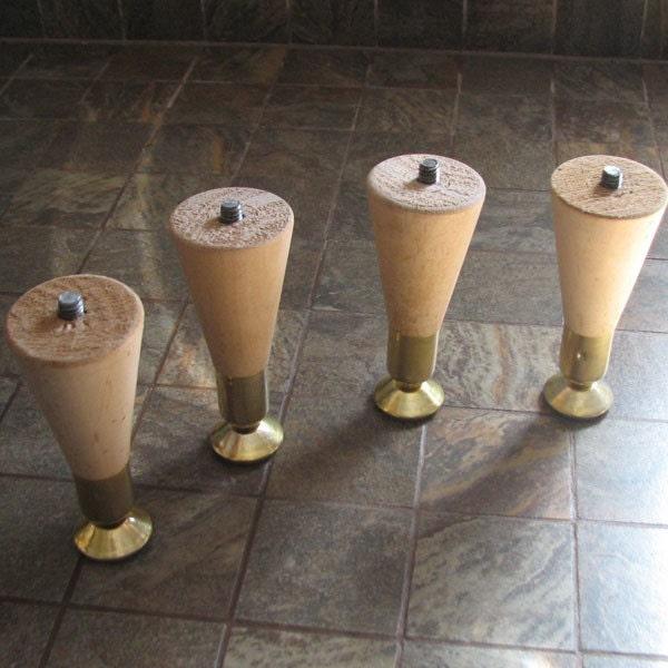 4 Short Mid Century Modern Wood Furniture Legs By