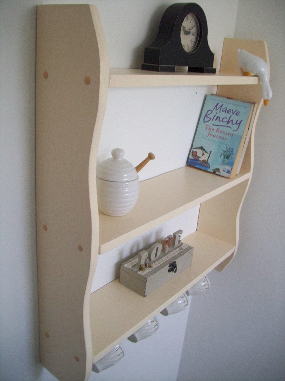 70cm H x 64cm W Pine Cream Shelves with 4 x Cup Hooks Kitchen Bathroom Bedroom Shelves Bookcase..