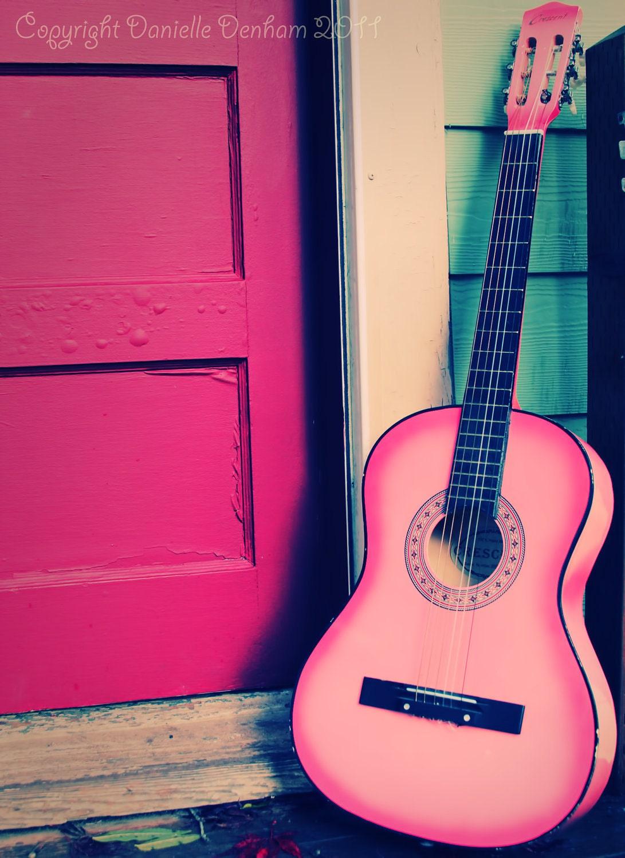 Pink girls teen guitars
