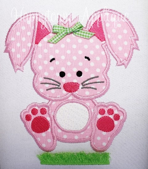 Easter bunny with fringe machine embroidery by