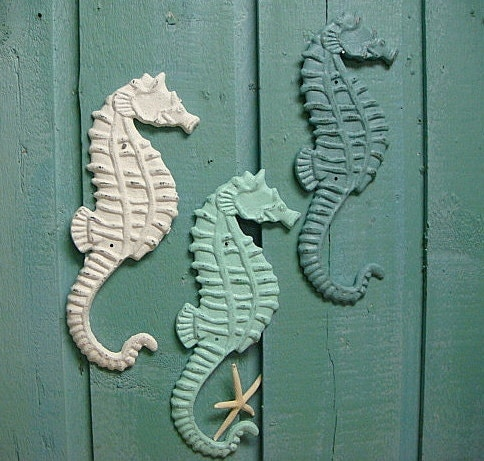 Seahorse Sign Cast Iron Wall Art Beach House Decor - CastawaysHall