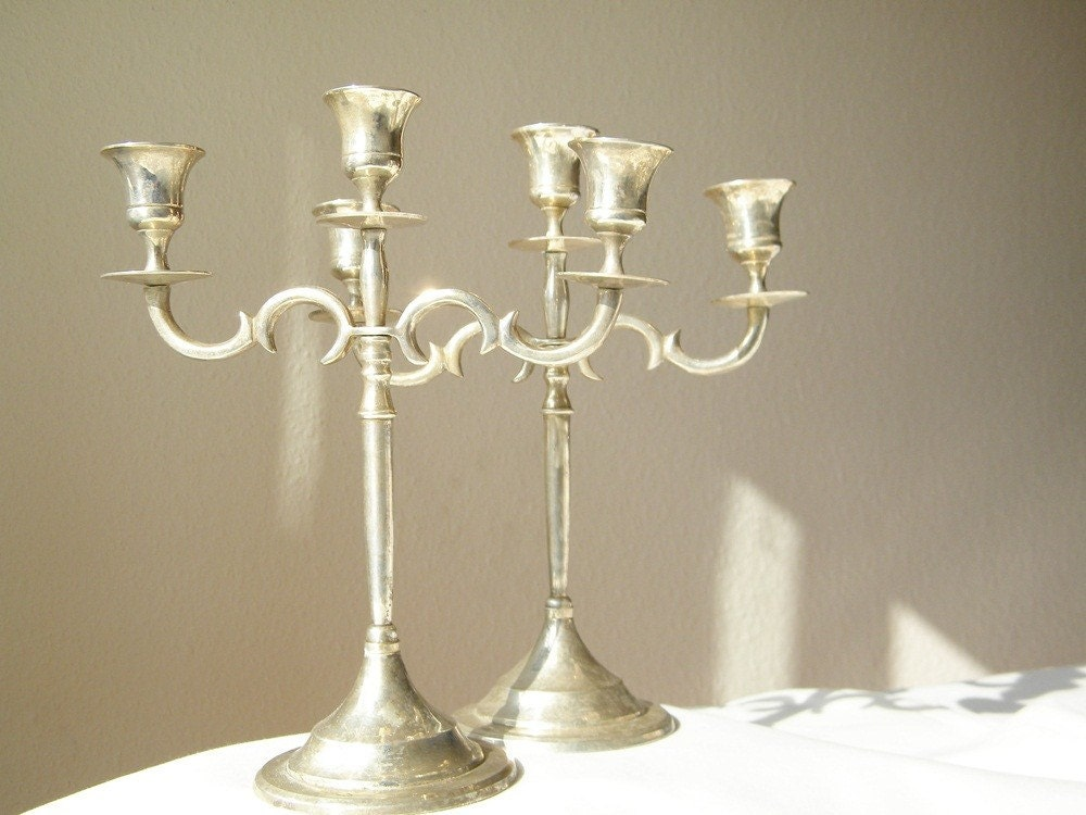 two french vintage silverplated candelabras