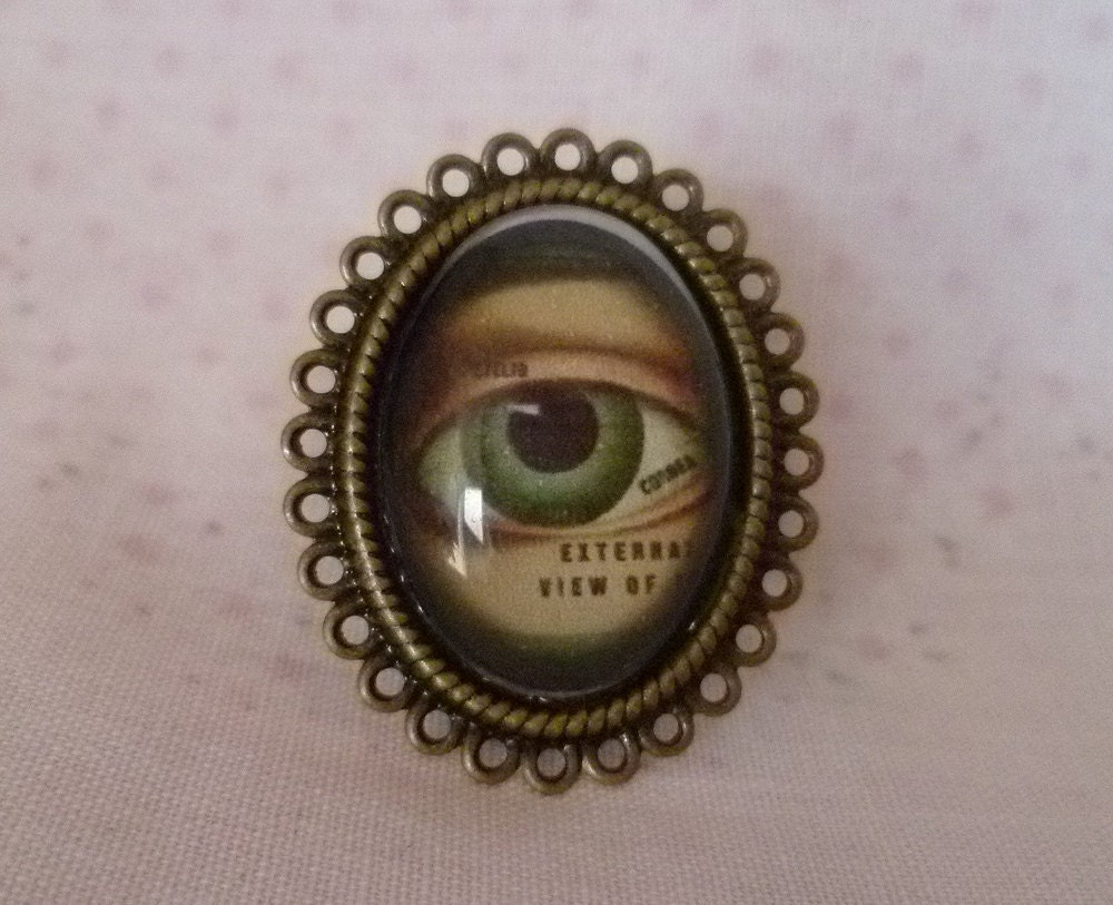 Memento Mori - Victorian style adjustable cameo ring - vintage anatomy, goth/steampunk/vintage
