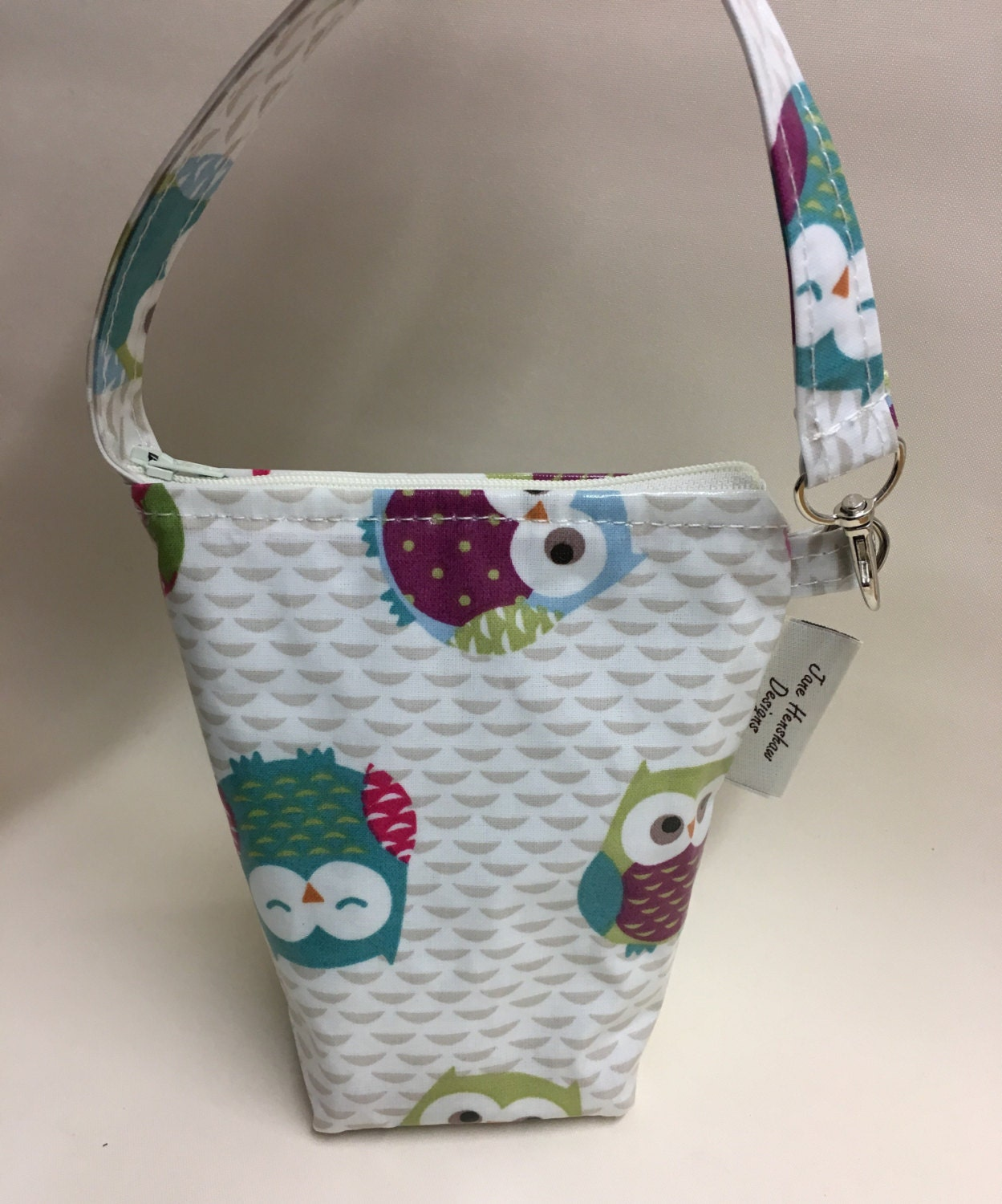 Insulated baby bottle bag thermal bag bottle warmer in owls oilcloth