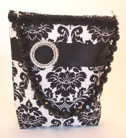 Handmade Bags and purses on Etsy - Robin - Black and White Damask Purse by leighannkline