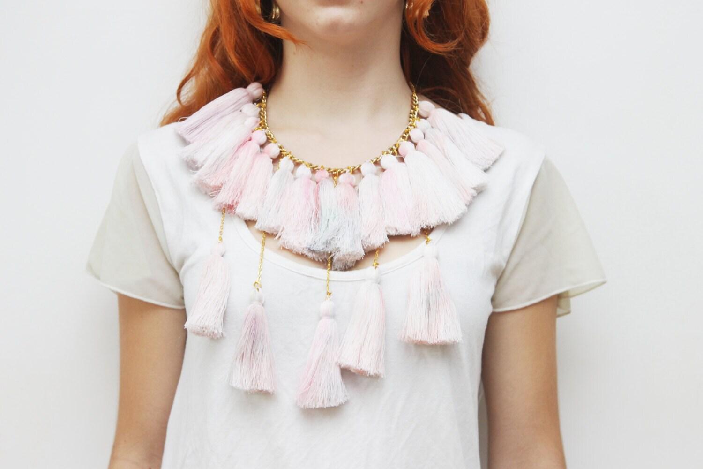 MARSHMELOW/ Pastel tassel necklace-Ready to Ship -OOAK - DDSLLGirlsStore