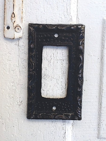 Decorative Wall Light Covers : Black metal wall decor light switch cover vintage by