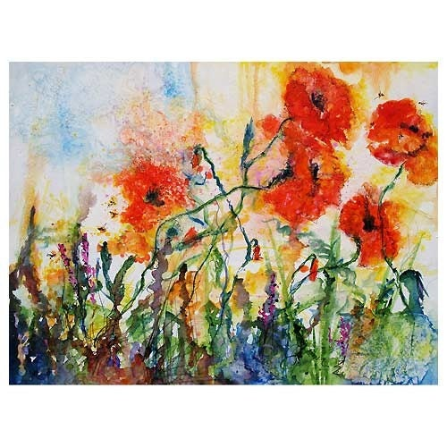 Large Painting - POPPIES PROVENCALE - Watercolor on Canvas by Ginette Callaway