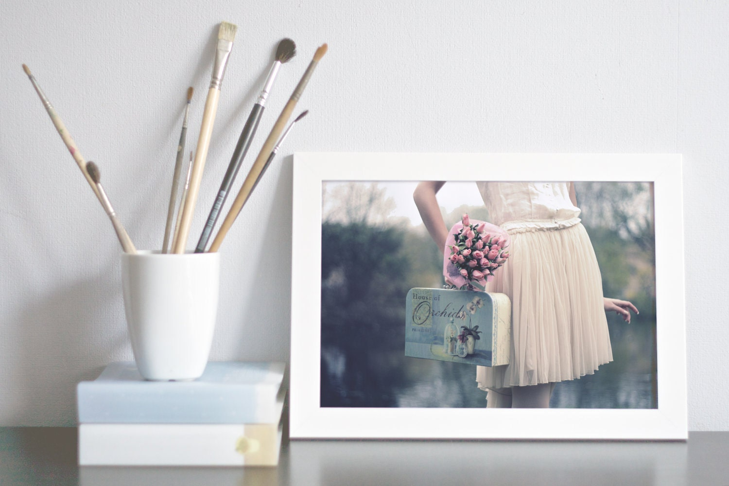 "Girly Fashion Photography Vintage Inspired - ""Vintage Dream"" - 8x12 Fine Art Photo Print - Creamy Color Pale Pink and Blue Wall Art Decor"