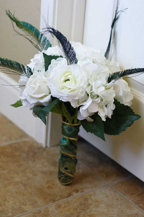 White Wedding Bouquets With Peacock Feathers : Items similar to white silk flowers and peacock feathers