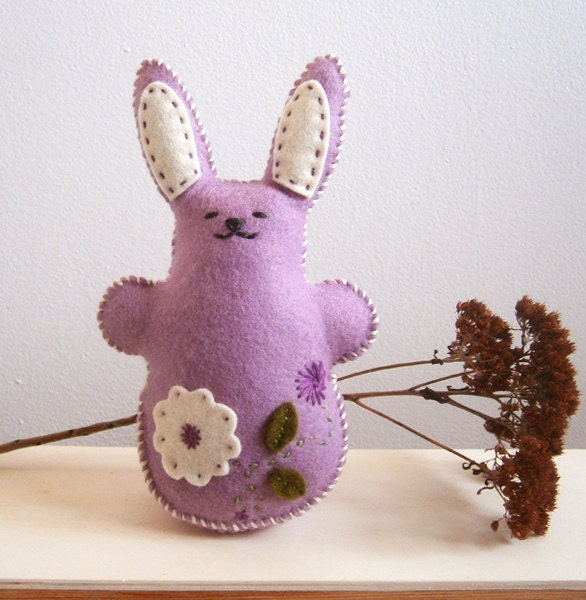 Easter Bunny Rabbit, Purple Wool Felt, Waldorf Toy, Hand Stitched Stuffed Animal, Spring Flowers