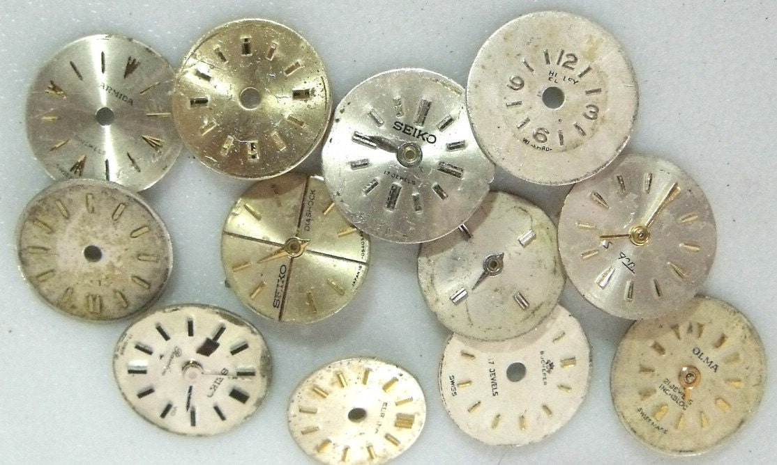 12 Tiny Metal Vintage Watch Dials (Y39-XXSM) Rare, Hard to Find. TIN Y. REDUCED AGAIN