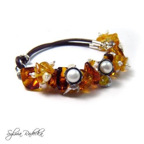 Amber Bracelet Freshwater Pearl Sterling Silver White Pearl Handmade Metalwork Keishi Brown Gift Unique Jewelry - RadeckaArt