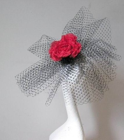 Black and Red fabulous fascinator hat for weddings and races