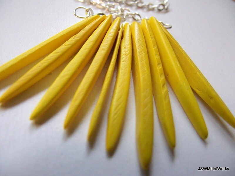 Coco Tusk Necklace, Vibrant Yellow