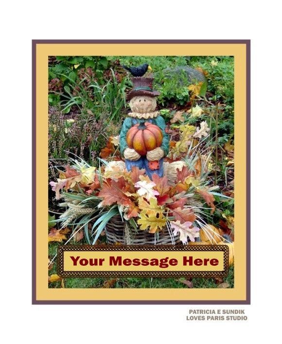 Personalized  Autumn Scarecrow Photo,16 x 20 inch,  Fine Art Poster Print