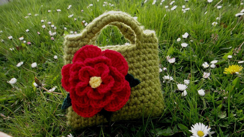 Little Girl Little Flower Purse in Meadow green with red flower detail