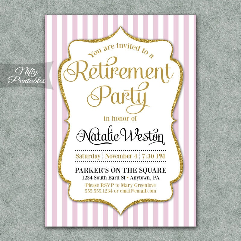 invitations printable pink gold retirement party invites elegant
