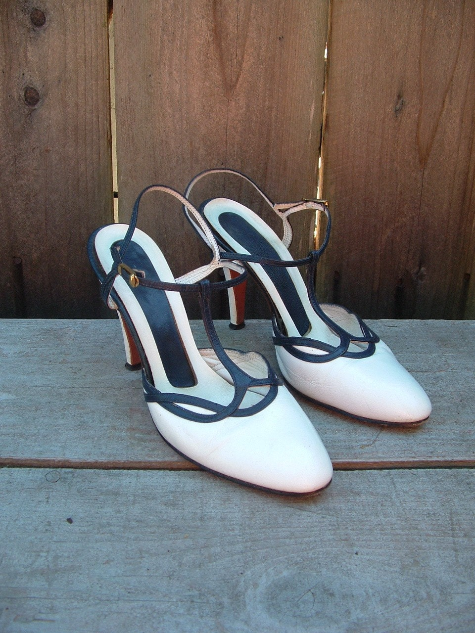 SALE 40s White and Navy Leather T-Strap Heels