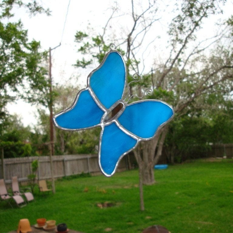 Whimsical Stained Glass Butterfly Cornflower Blue