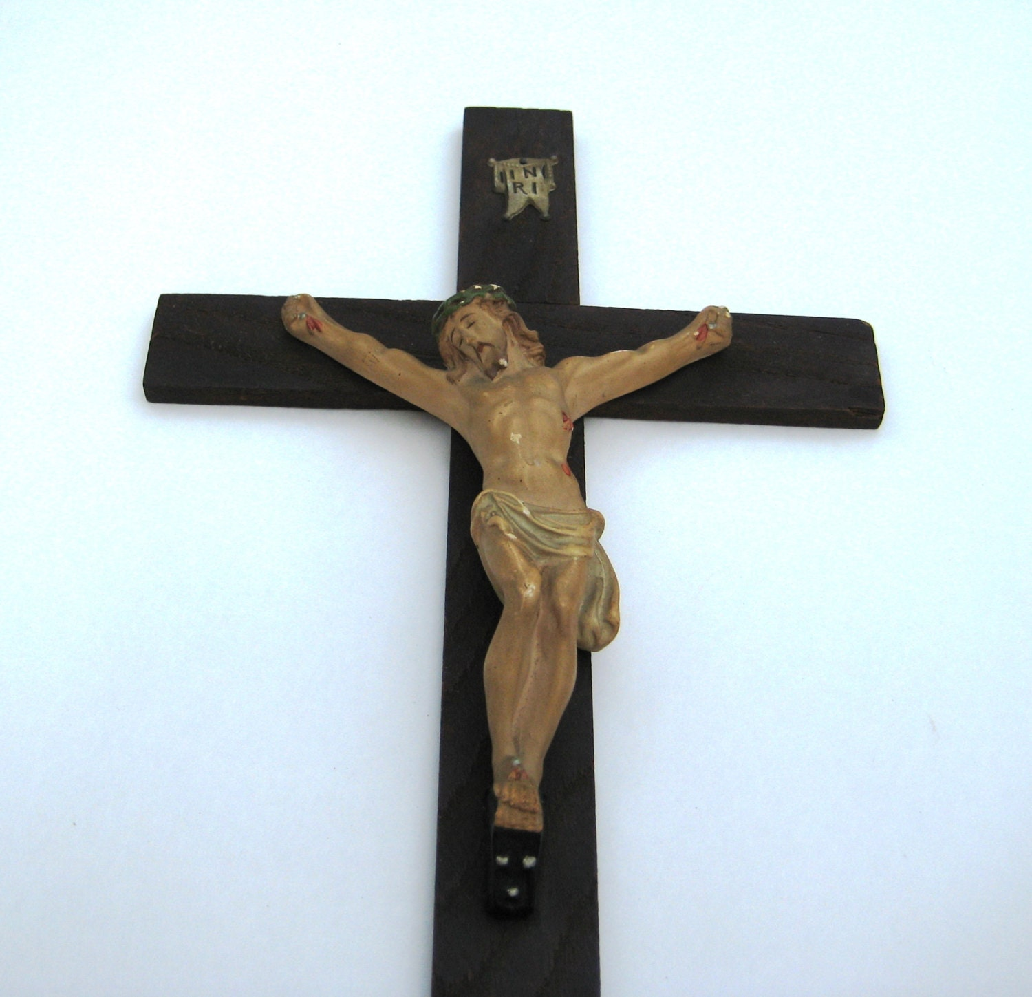 Antique Wall CRUCIFIX Chalkware Corpus & Wood Cross w Metal INRI Nice ...