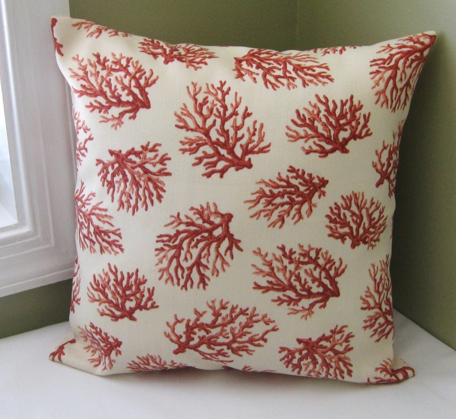 Waverly Coral Trellis Pillow Cover 14x14