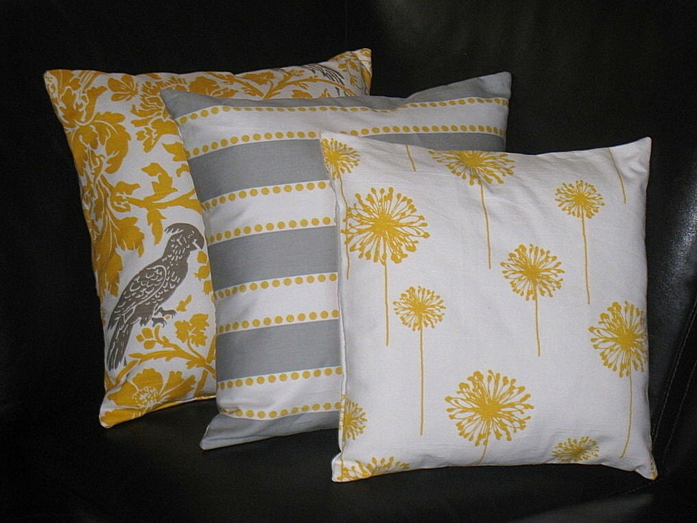 Decorative Pillow Trio : Items similar to YELLOW Pillows Decorative Pillows TRIO dandelion, lulu stripe, barber bird 16 ...