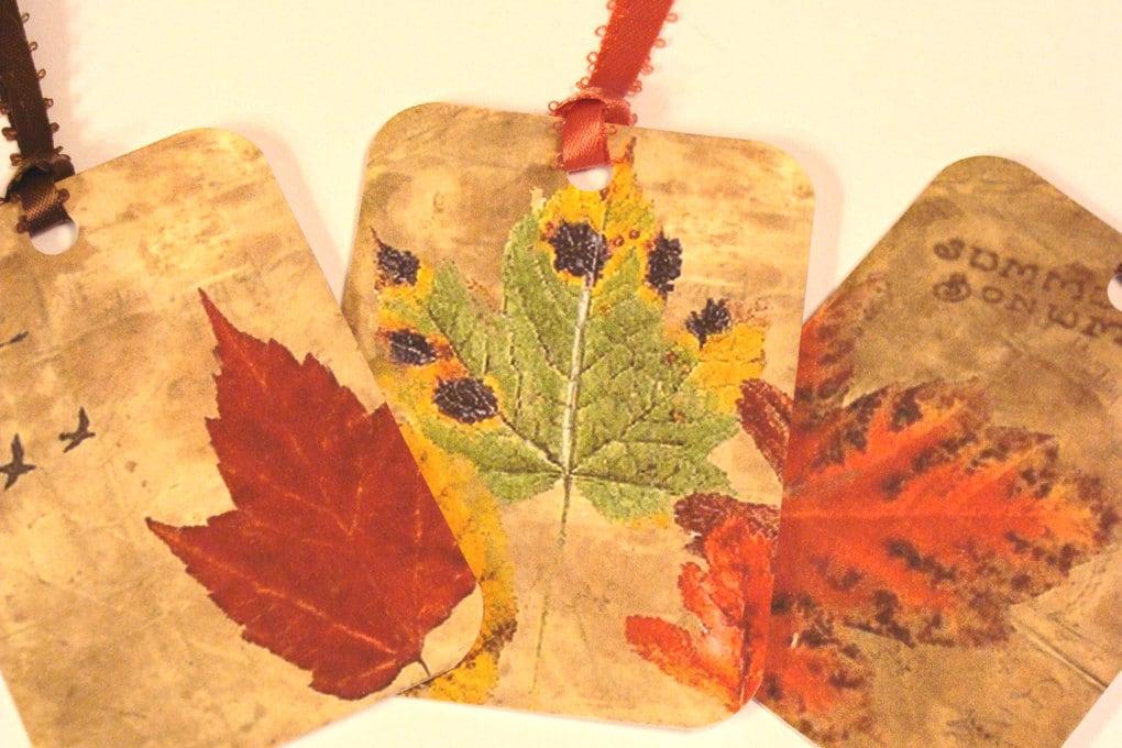 CO-485-Autumn Splendor Set of 6 Fall Leaf Tags --2 of Each Design