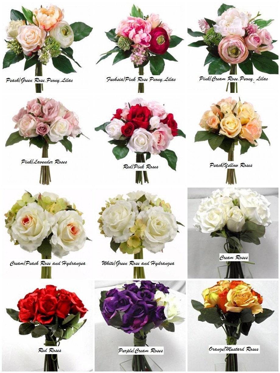 10 Pc. Custom Bouquet Set, Bride's Bouquet, Maid of Honor Bouquet, 3 Bridesmaids Bouquets, 5 Boutonnieres