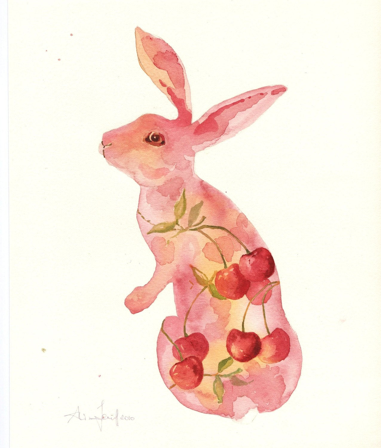 BUNNY Art - Pink Cherry Bunny - Fine Art Print 8x10 - BUY today SHIP today