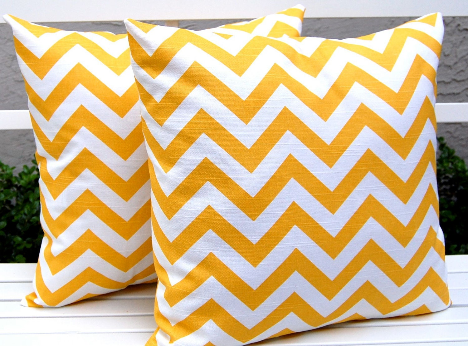 Chevron Ikat Pillows Pillow Covers Combo  20 x 20 Inches with 18 x 18 Inches - Corn Yellow and White Chipper and Chevron Zig Zag