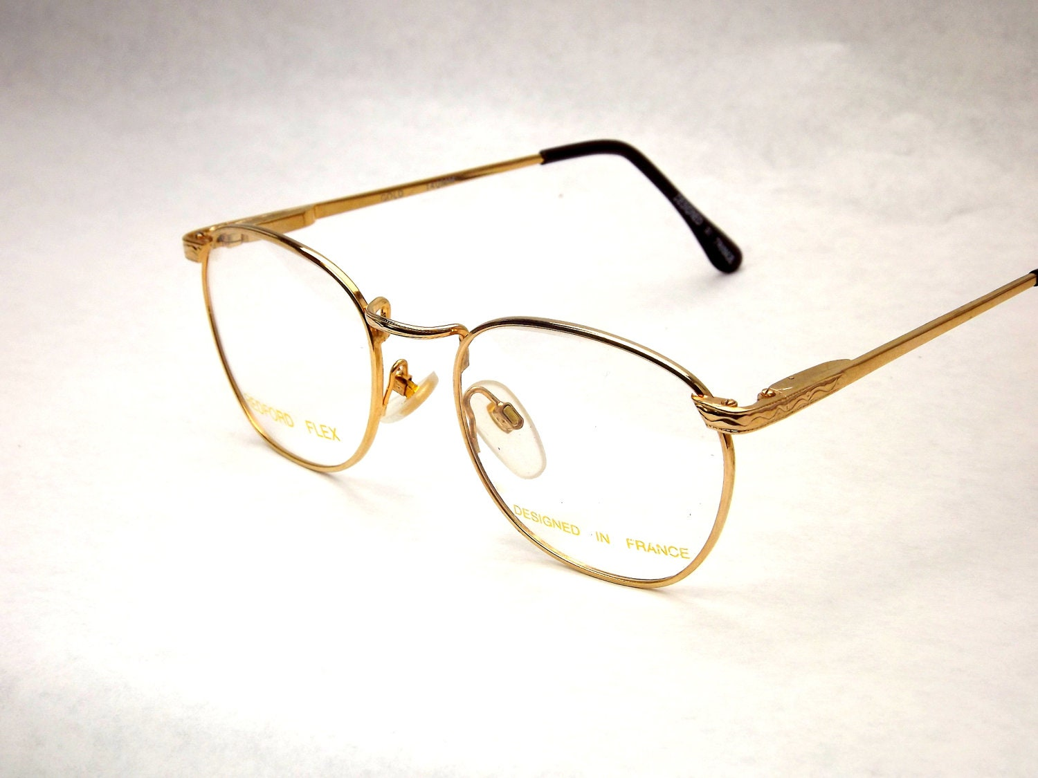 Gold Wire Eyeglass Frames : Vintage Gold Round Squared Wire Eyeglasses 80s by DontUWantMe