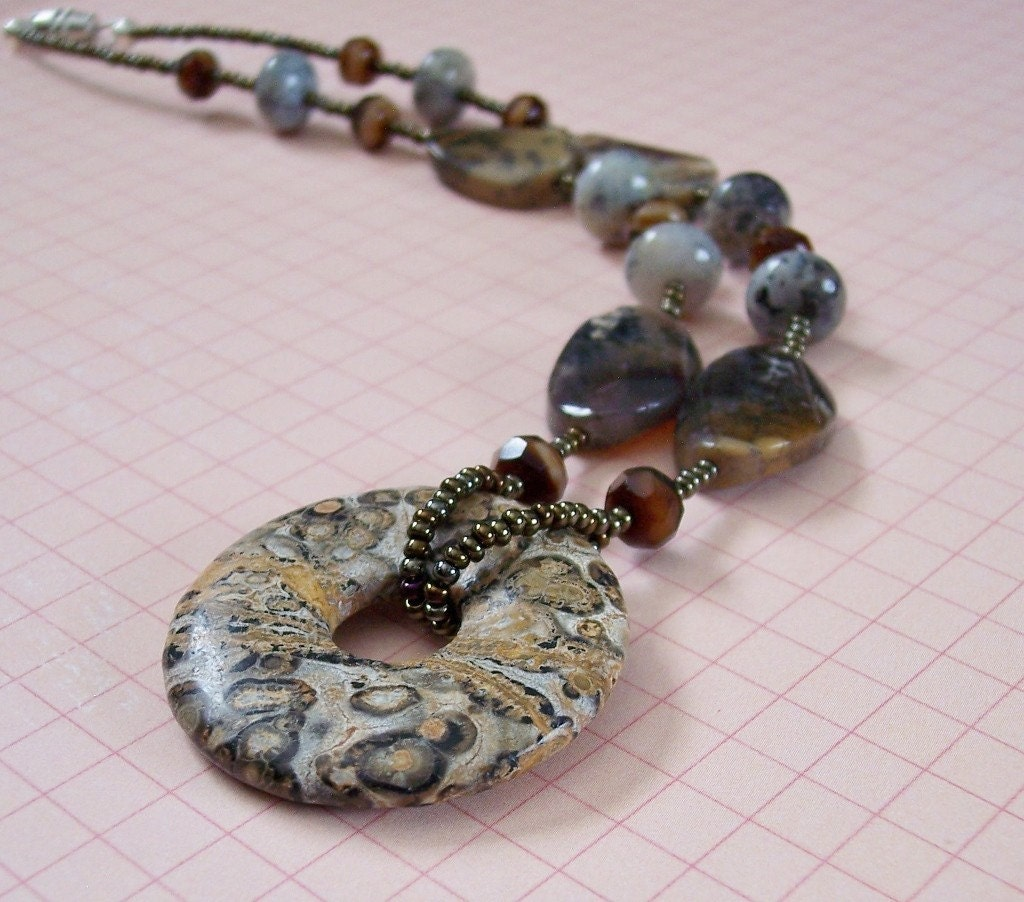 Leopard Jasper Donut with Amethyst Jade and Czech Necklace