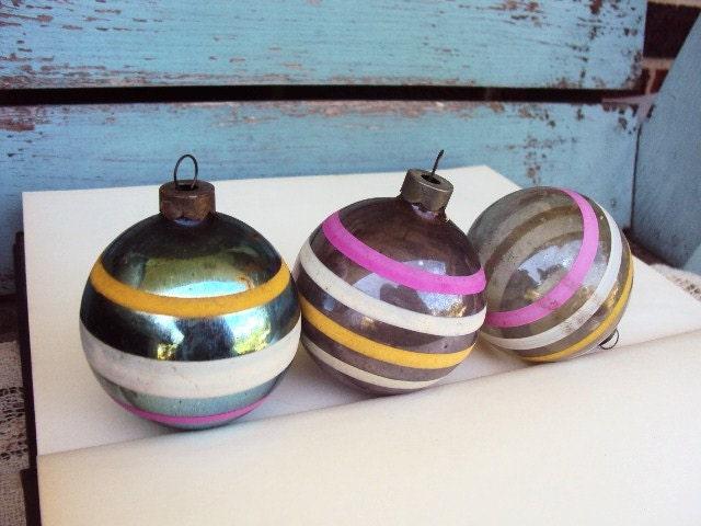 Vintage Christmas Ornaments Mercury Glass War Era Stripes Bands - primitivepincushion