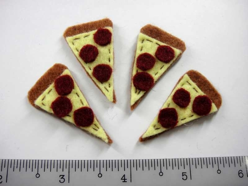 Felt Applique - PIZZA  - 4 PCS - Handmade