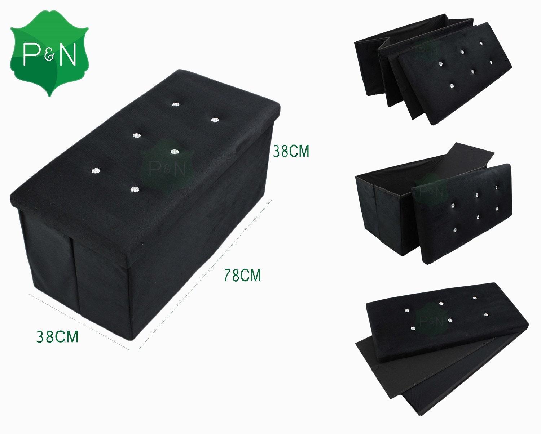 Large black velour ottoman storage toy box foot stool storage ottoman pop up box toy blanket storage box foot stool