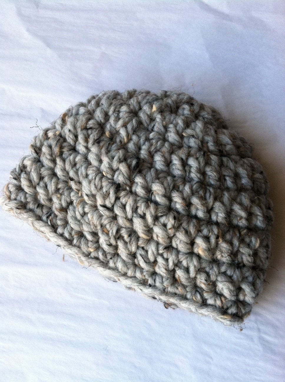 Items similar to Crochet Baby Hat in Bulky Gray Yarn ...