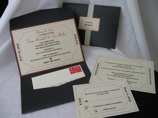 Ticket to Broadway Wedding Invitation Set