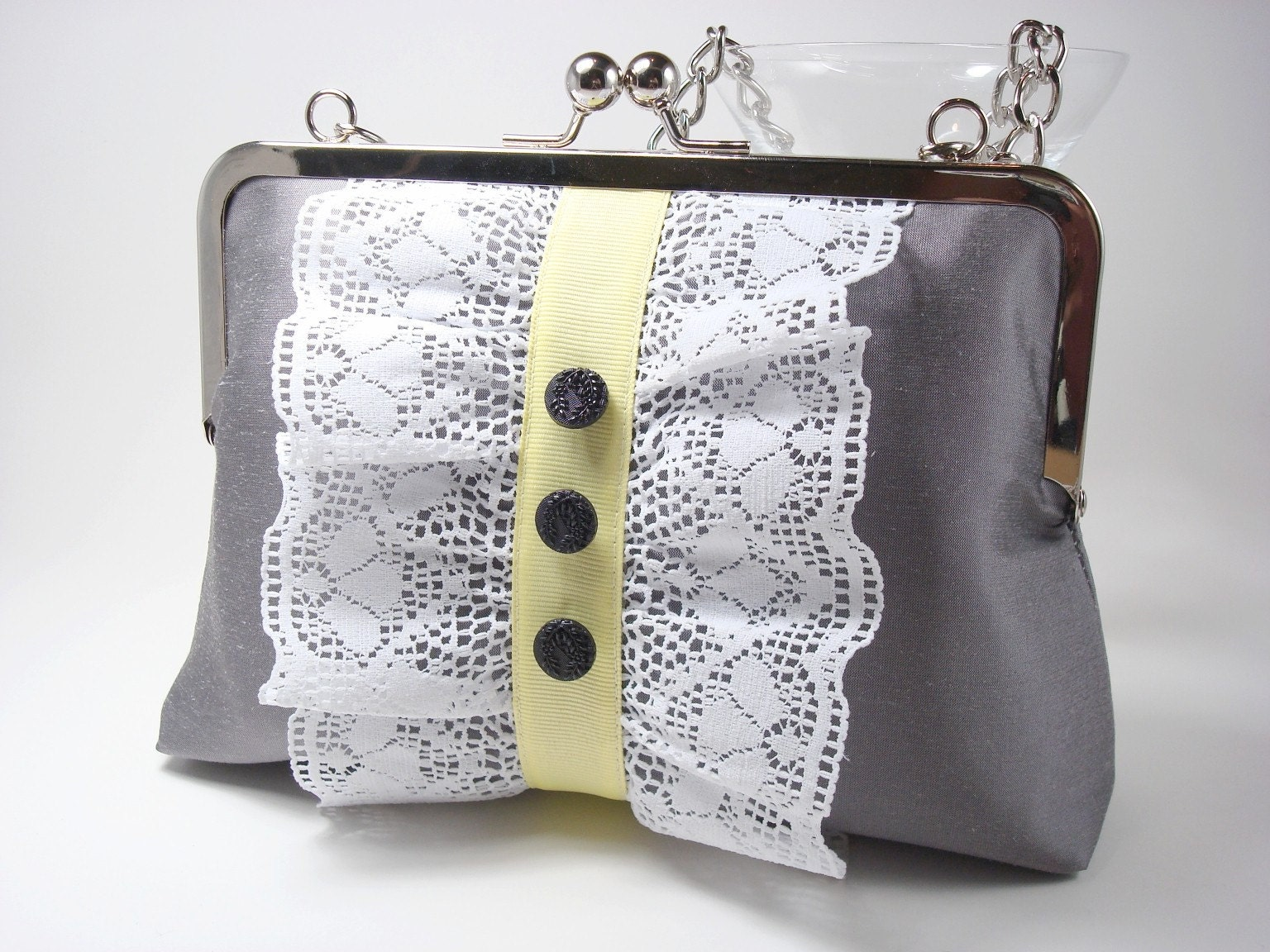 Pewter Silk Purse with Lace and Yellow Ribbon- The Georgina