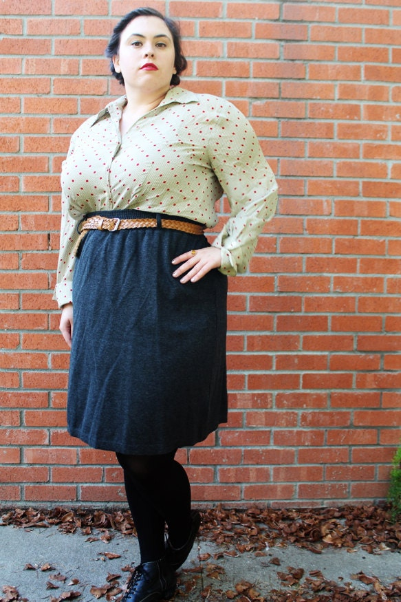plus size vintage grey knit pencil skirt with by thecurvyelle