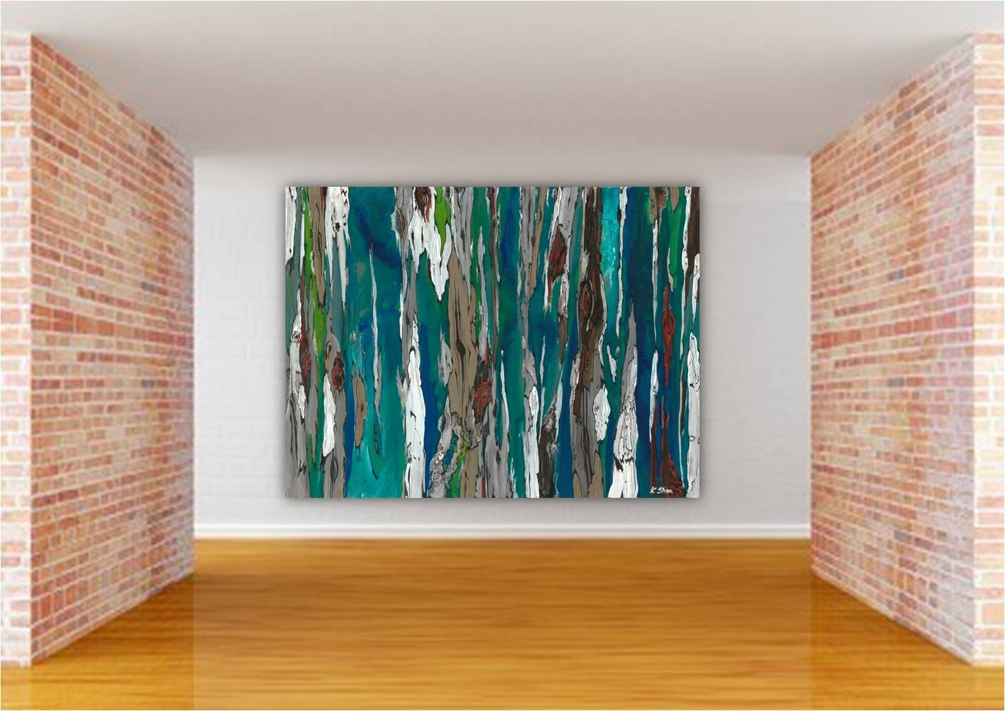 VERY LARGE Oversized Teal Wall Art Canvas Print Painting Of Trees