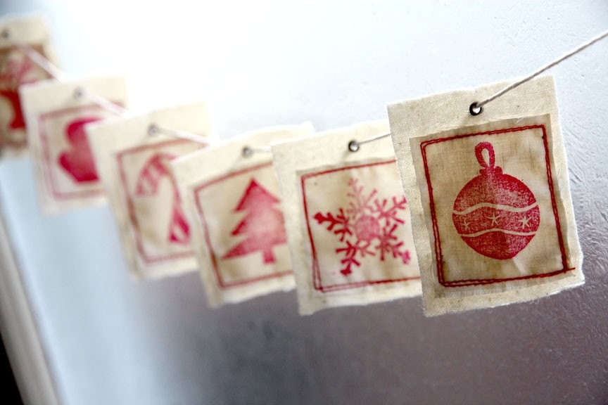Red. 6 Christmas Collection Fabric Gift Tags - Tree, Ornament, Snowflake, Mitt, Candy Cane, Reindeer