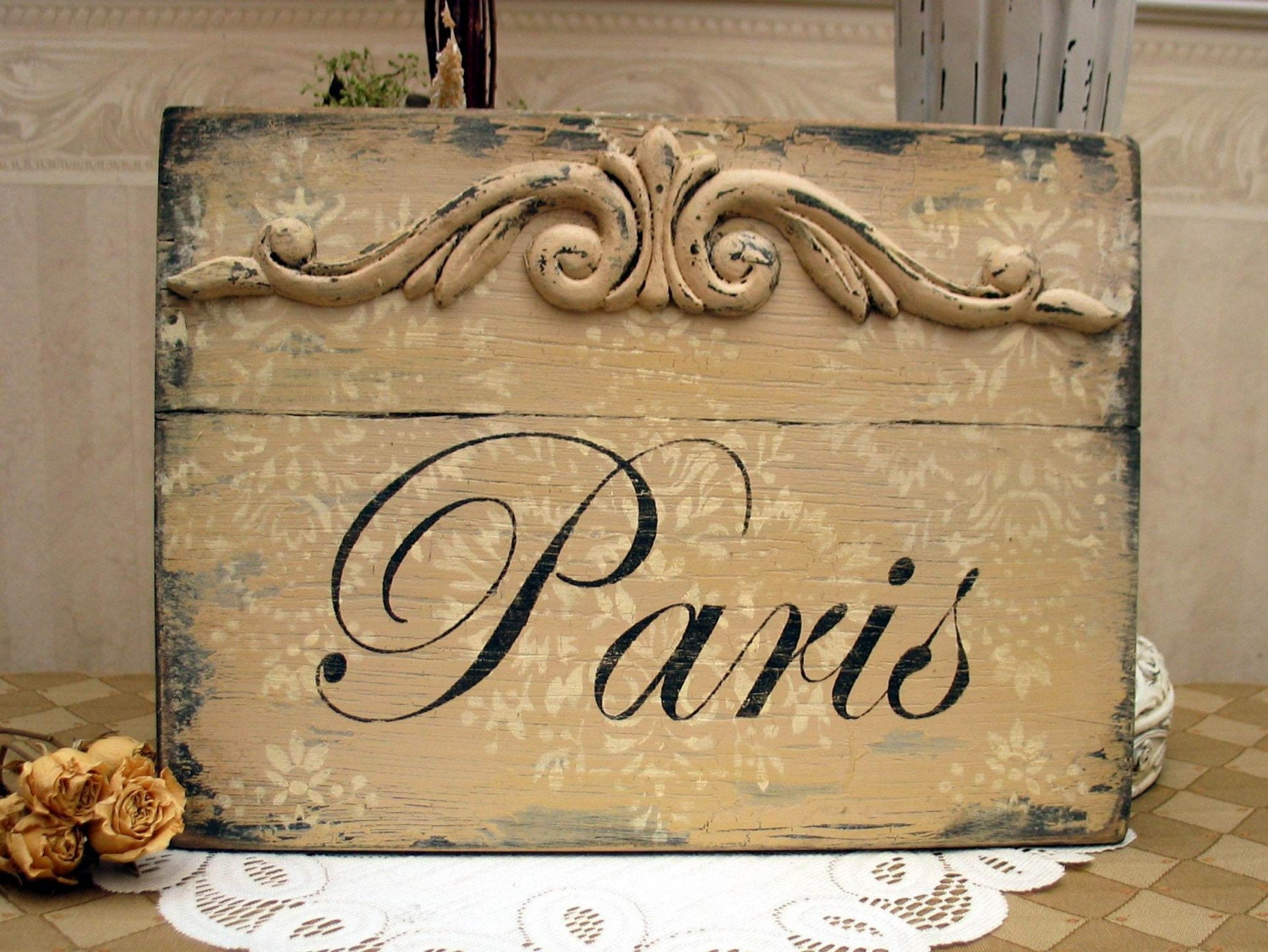 PARIS  FRENCH sign Shabby vintage style chippy sign