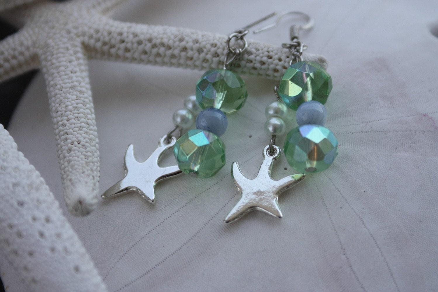 earring green starfish beach