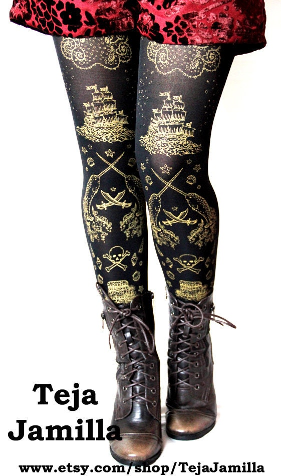 Pirate Tights Narwhals Extra Large Plus Size Gold on Black XL Tattoo Sailor Anchor Nautical Lolita