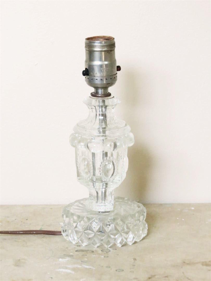 clear glass lamp base vintage glass lamp by blacksprucehound. Black Bedroom Furniture Sets. Home Design Ideas