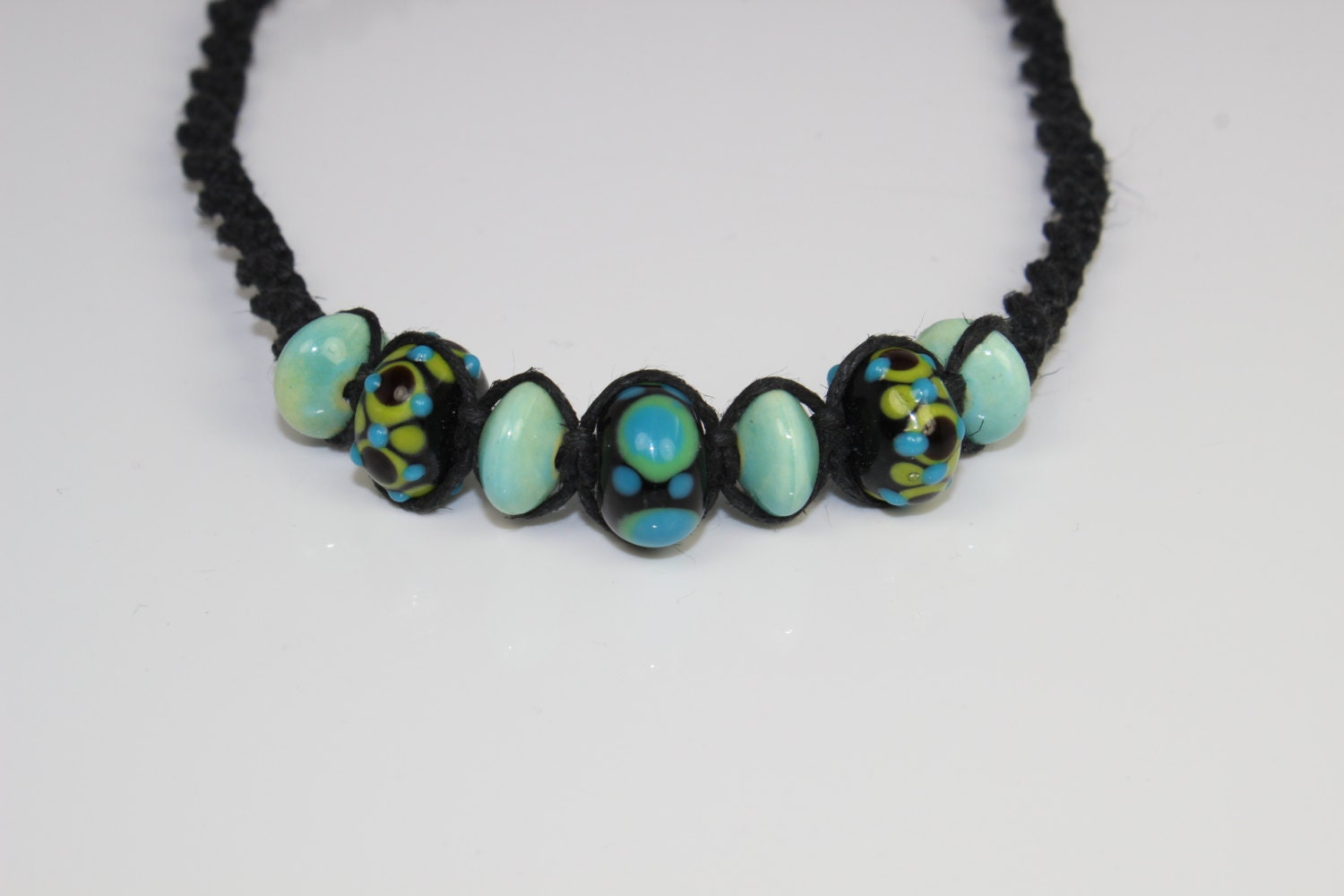 RESERVED - Sweepstakes Giveaway - Glass and Ceramic on Black Hemp - Jewelry - Necklace - FREE Shipping (US Only)