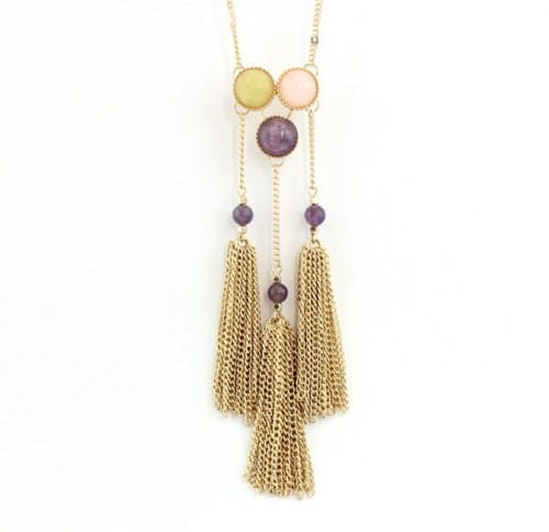 AMETHYST ROSE QUARTZ Jade Tassle Necklace Gold Plated  Womens Long Raw Crystal Modern Healing Crystals Stones Jewelry Jewellery Gift